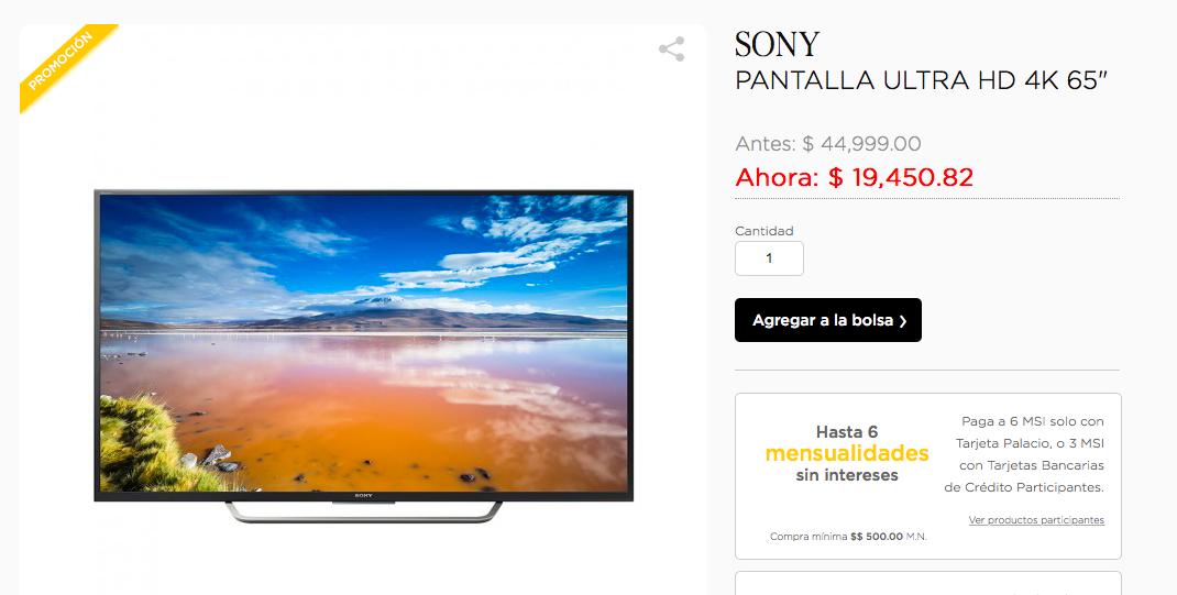 """Palacio de Hierro: Pantalla Sony 65"""" con Android TV XBR-65X750D"""