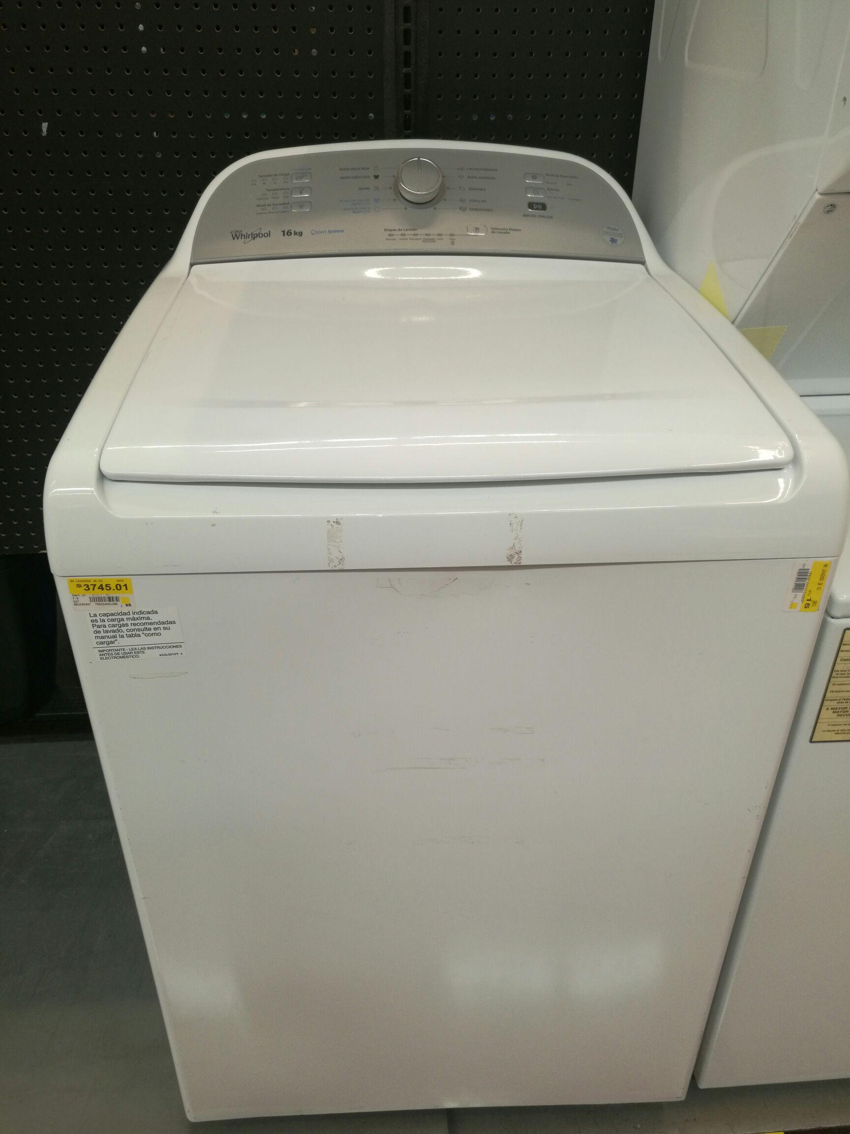 Walmart Pensiones: lavadora Whirlpool 16 kg a $3,745.01