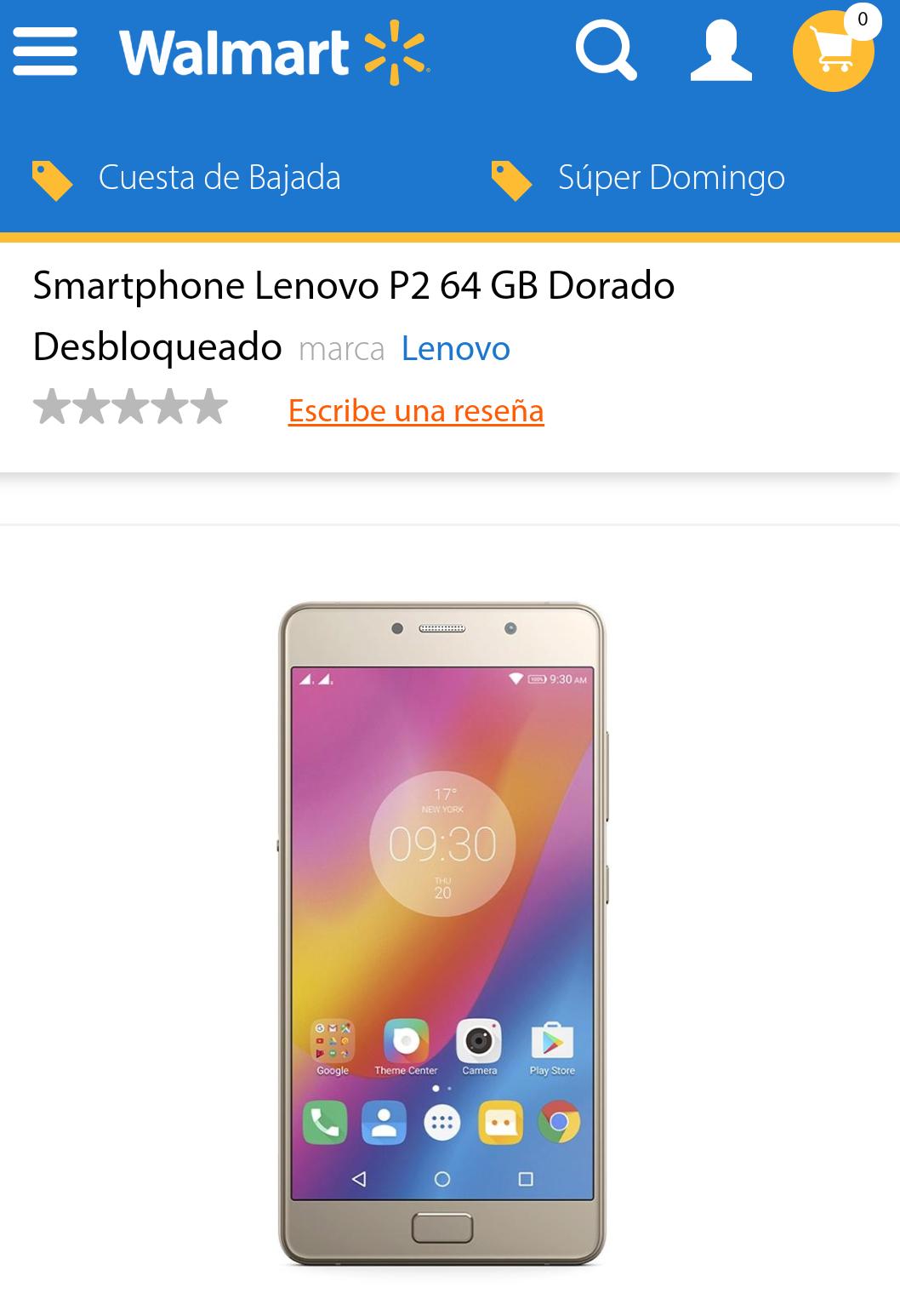 Walmart: Lenovo P2 64GB Dorado Desbloqueado