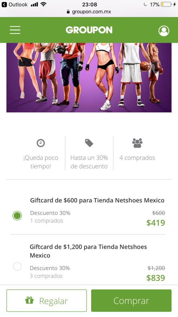 Groupon: gif card Netshoes de $1,200 a $839