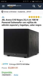 Amazon MX : JBL Arena S10 Negro  100 W Powered Subwoofer