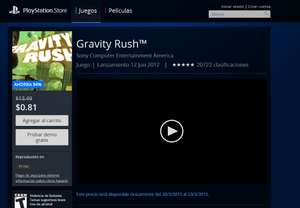 Playstation Store: Gravity Rush en .89 USD