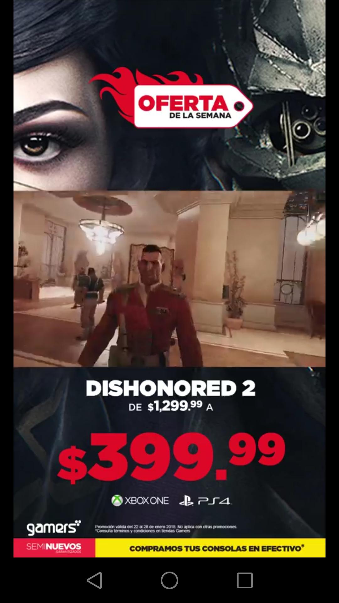 GAMERS: Dishonored 2 en oferta