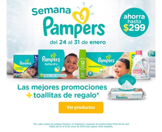 Walmart Semana Pampers: hasta $299 de descuento + toallitas gratis