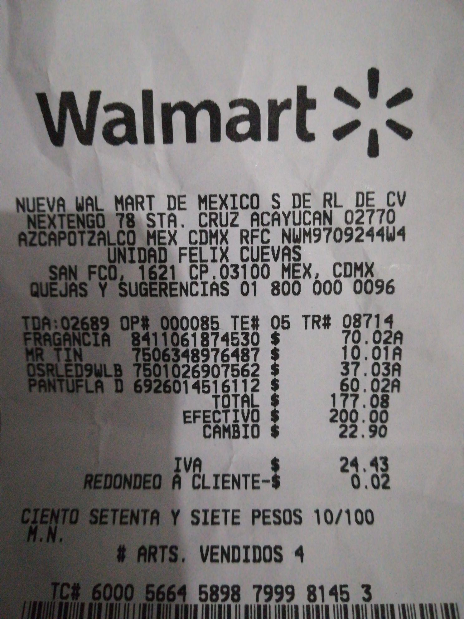 Walmart Félix Cuevas: Liquidaciones .02 y .03 (ej. Kit de fragancia $70.02)