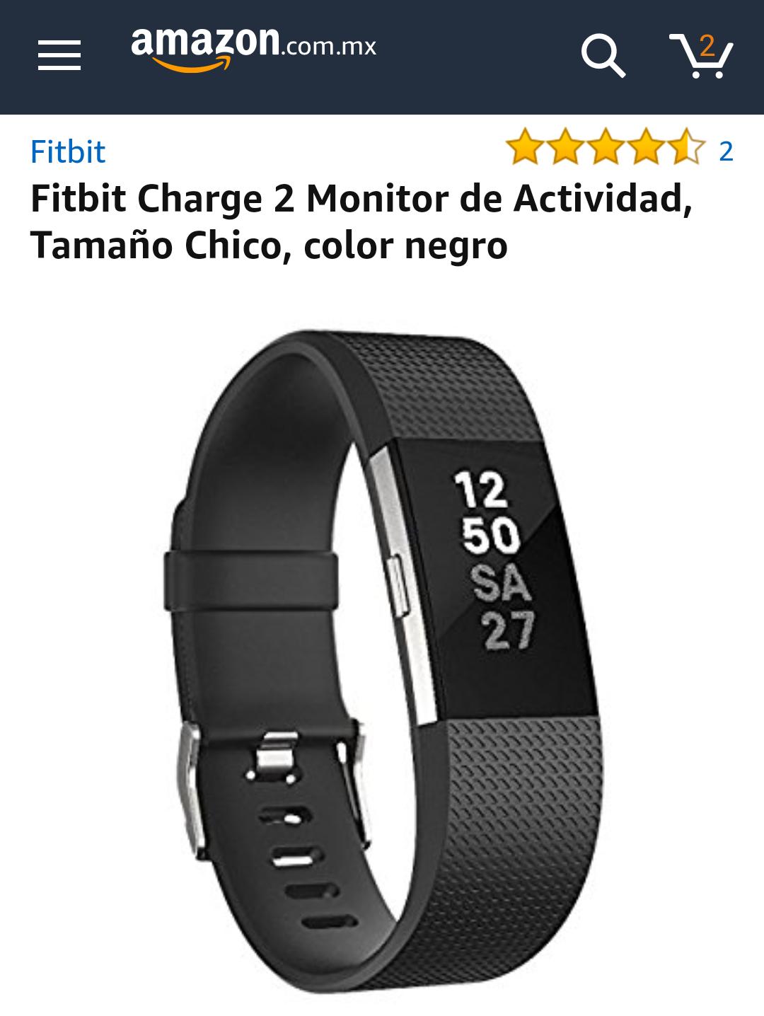 Amazon MX: Fitbit Charge 2 (Negro, chico)
