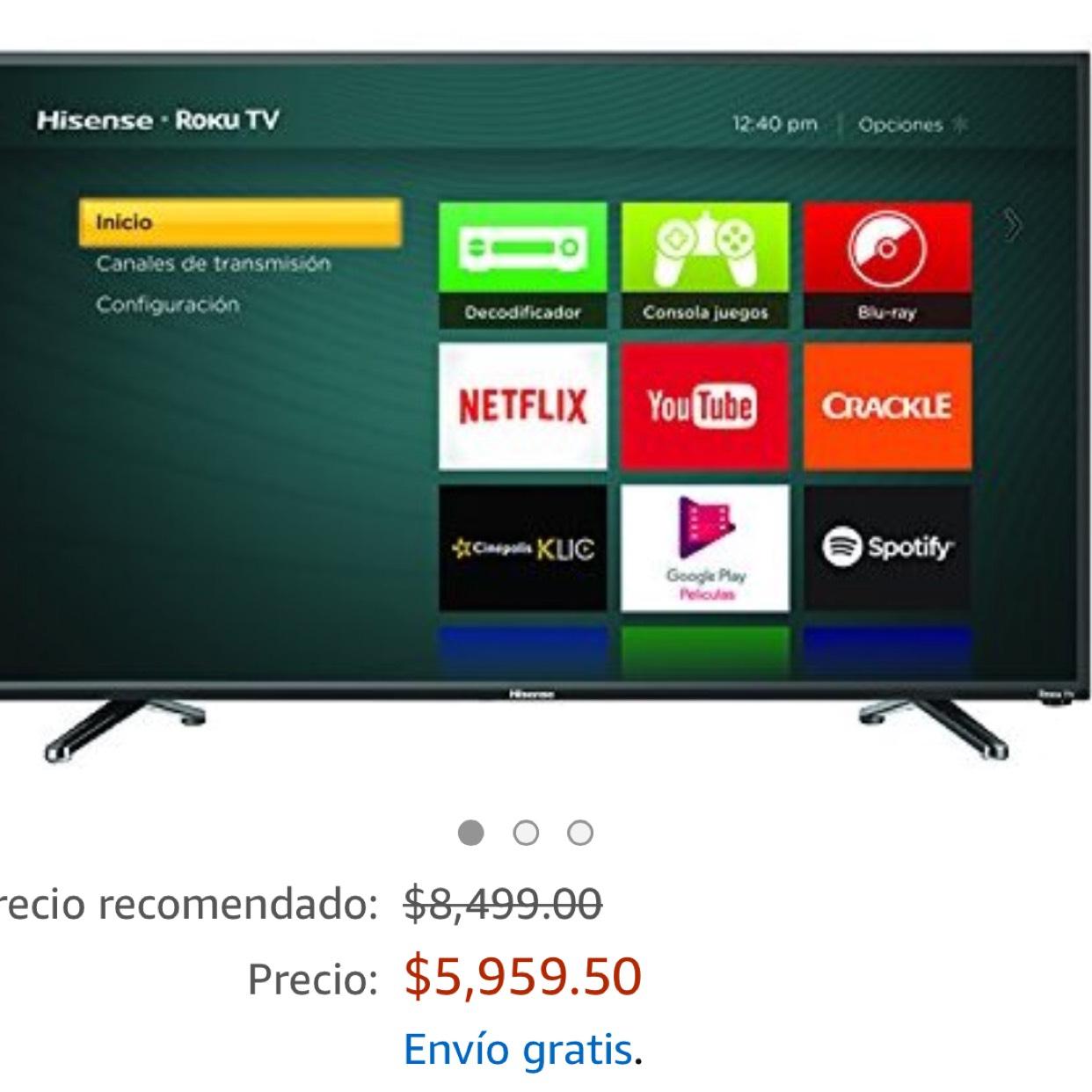 """Amazon: Pantalla de 40"""" Hisense con Roku modelo 40H4DM"""