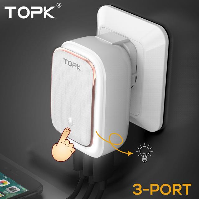 ALIEXPRES Cargador de Pared 2-EN-1 Lámpara LED y Adaptador de Viaje USB