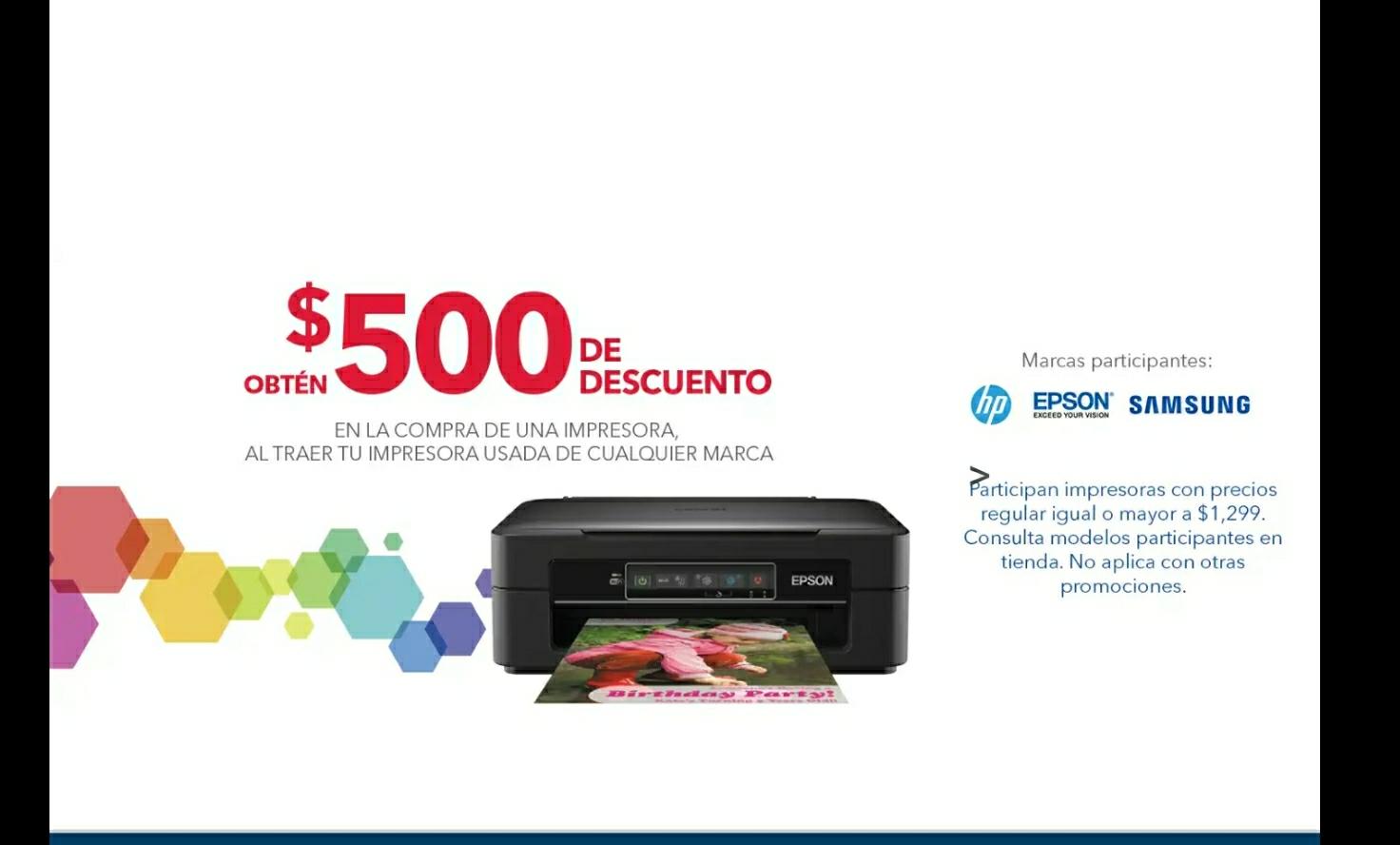 Best Buy: 500 pesos de descuento llevando impresora en la compra de modelos seleccionados