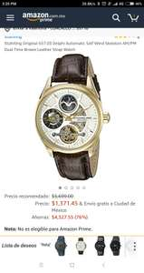 Amazon: Reloj Stuhrling Original 657.03 Delphi Automatic Self Wind Skeleton AM/PM Dual Time Brown Leather Strap Watch