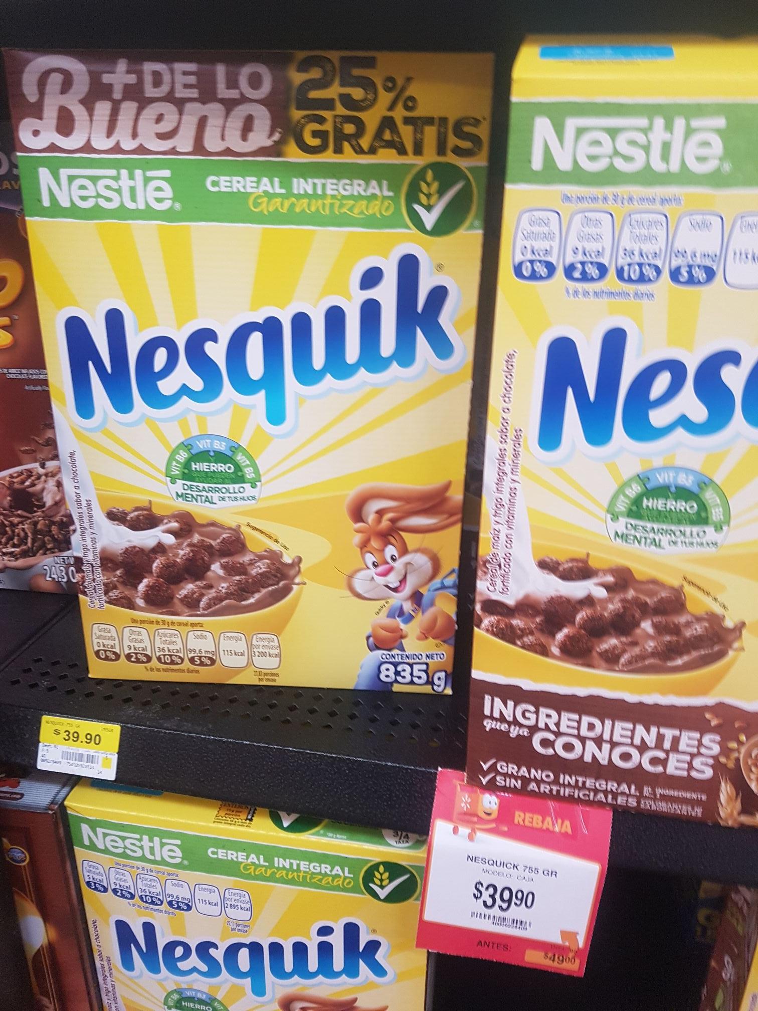 Walmart: Nesquik 755g + 25%
