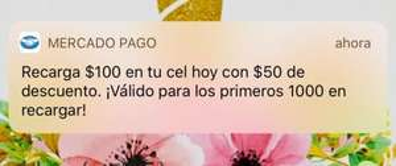 Mercado Pago: Recarga $100 de tu celular en MP y recibe $50