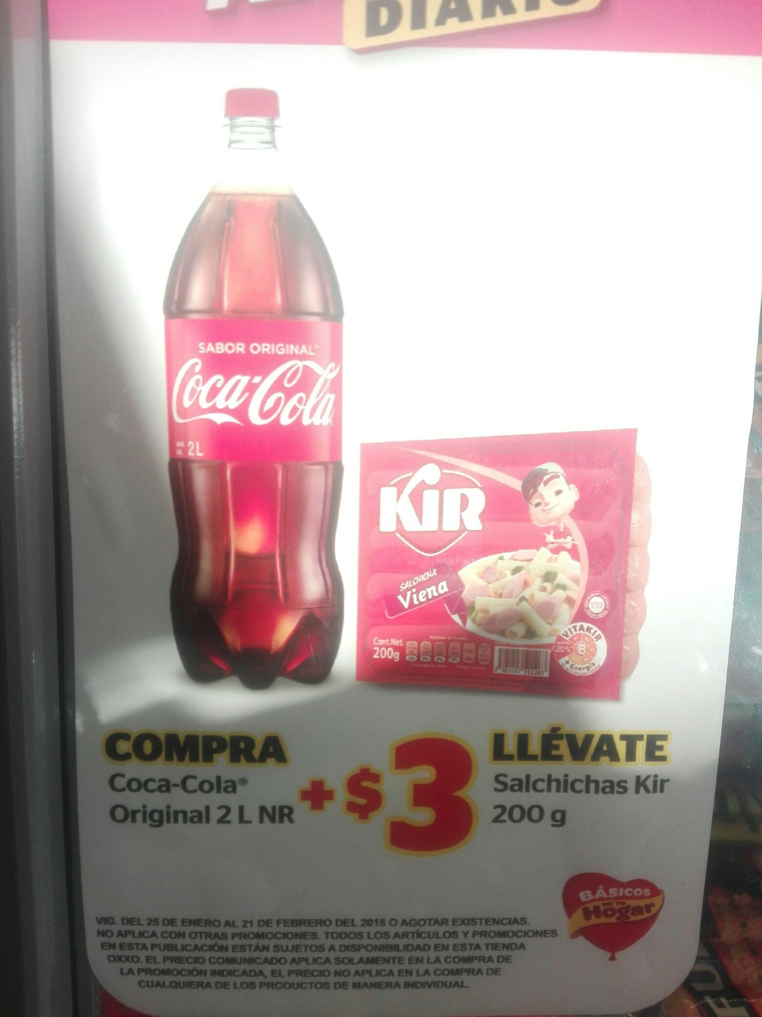 OXXO: Compra Coca Cola 2L + 3 pesos llevate Paquete de salchichas Kir