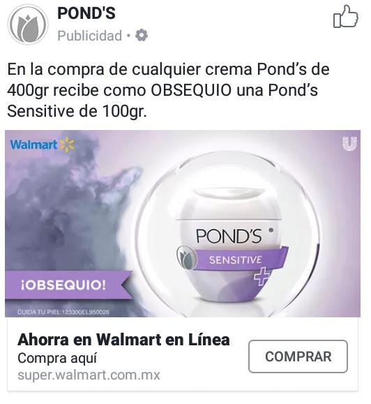 Walmart en linea: en la compra de una crema pond's de 400gr recibe de obsequio una pond's sensitive de 100gr