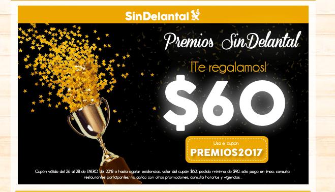 Sin Delantal: CUPON DE $60 DE 12PM A 2PM