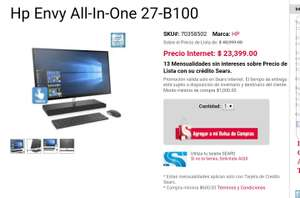 Sears:  Pc Escritorio 27 pulgadas All-In-One 27-B100