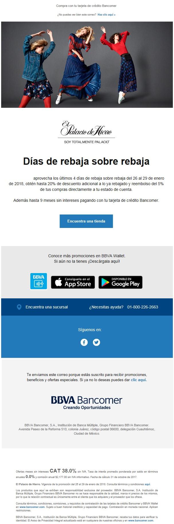 Bancomer: Reembolso del 5% ó 9 meses sin intereses con tarjetas Bancomer en Palacio de Hierro