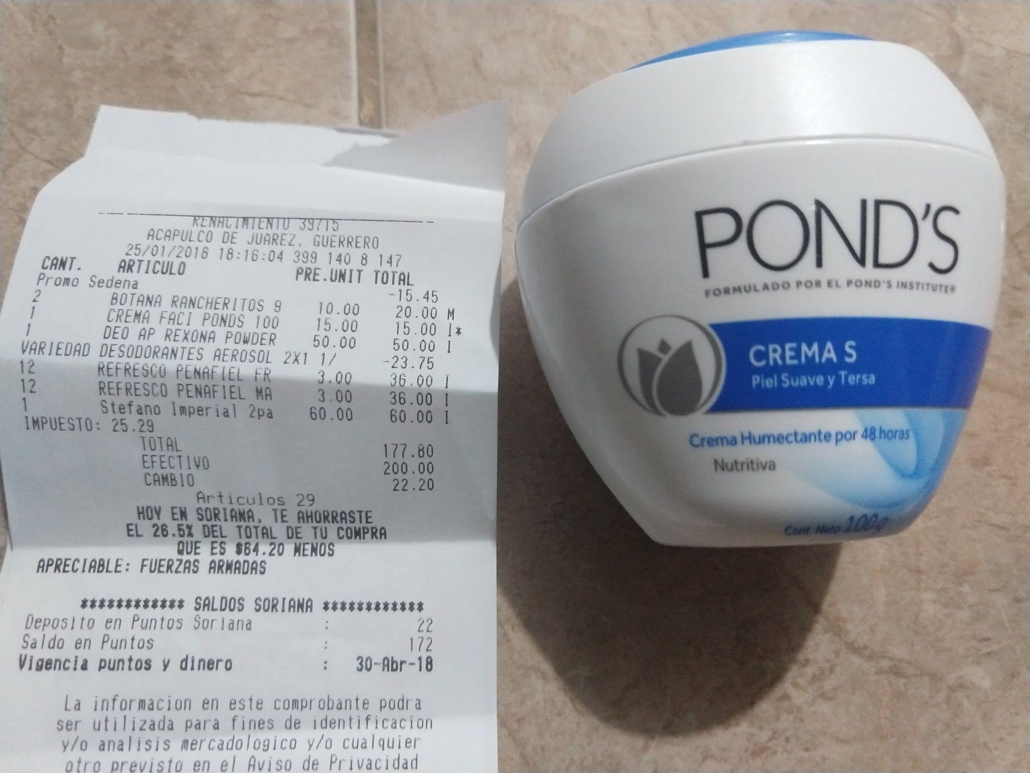Soriana: Crema Ponds su precio regular es de $45 y la encontré en $15 pesos