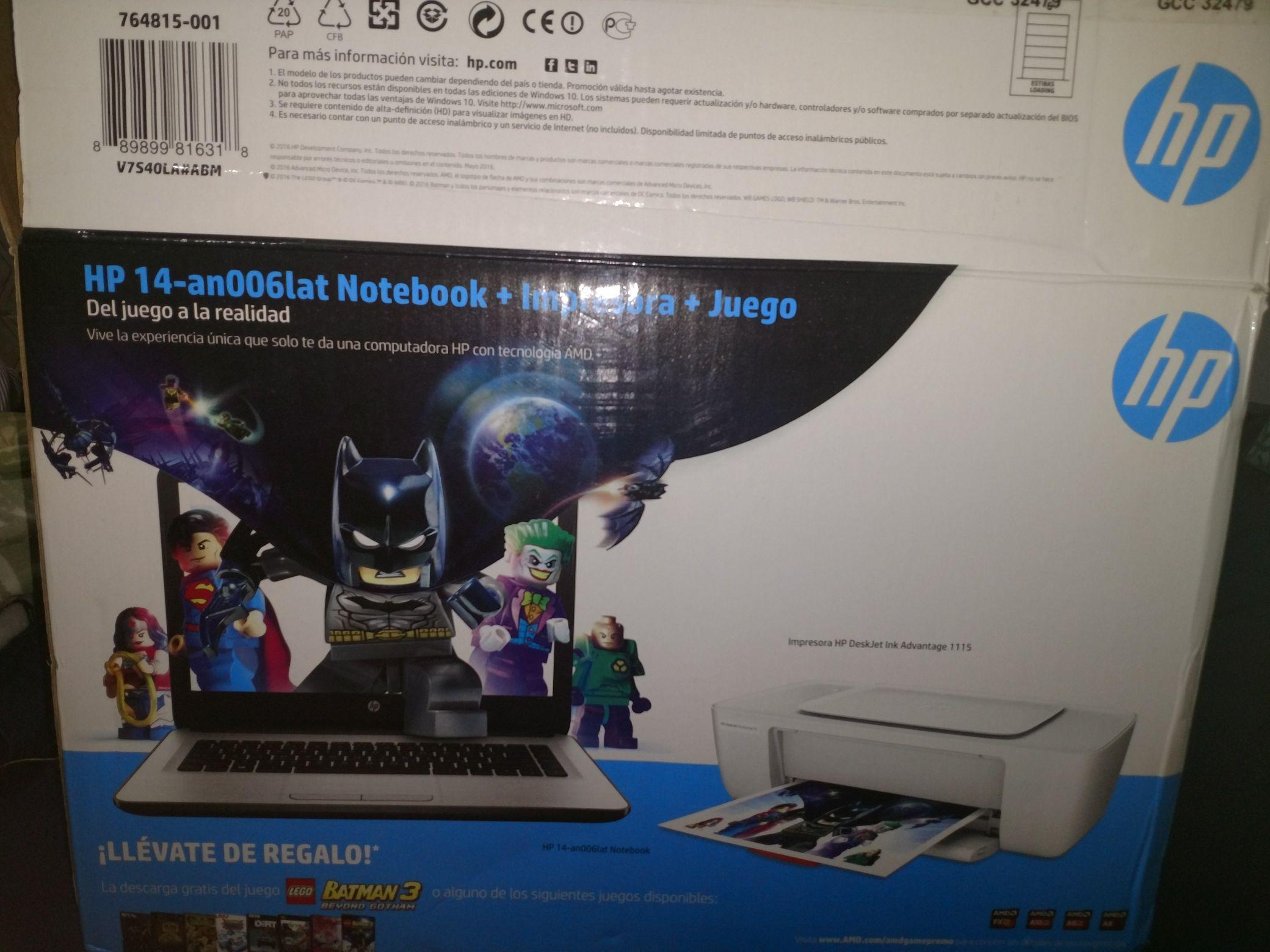 Walmart diagonal: Notebook HP 14 + impresora + juego última liquidación