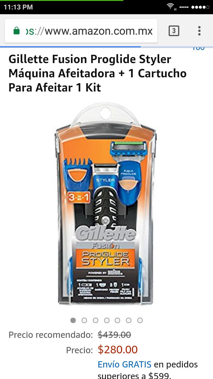 Amazon: Gillette Fusion Proglide Styler Máquina Afeitadora + 1 Cartucho Para Afeitar 1 Kit