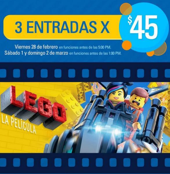 Cinépolis: 3 boletos para la película LEGO por $45 de viernes a domingo