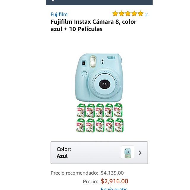Amazon: Fujifilm instax camara 8 azul + 10 cartuchos