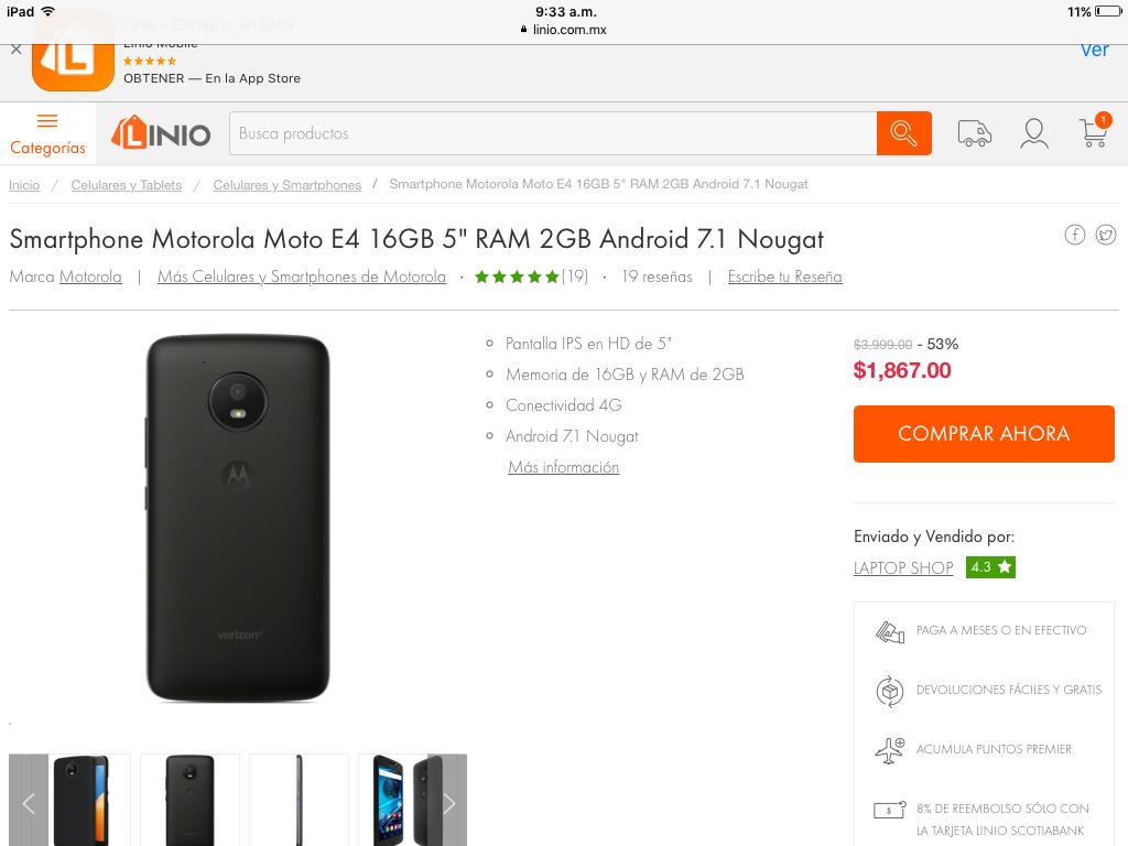Linio: Motorola e4 7.1 nougat