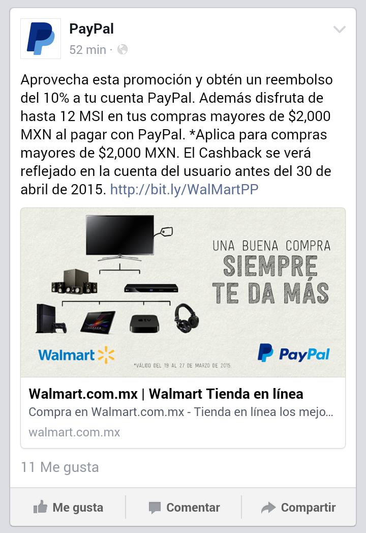Walmart: 12 meses sin intereses y 10% de reembolso pagando con Paypal