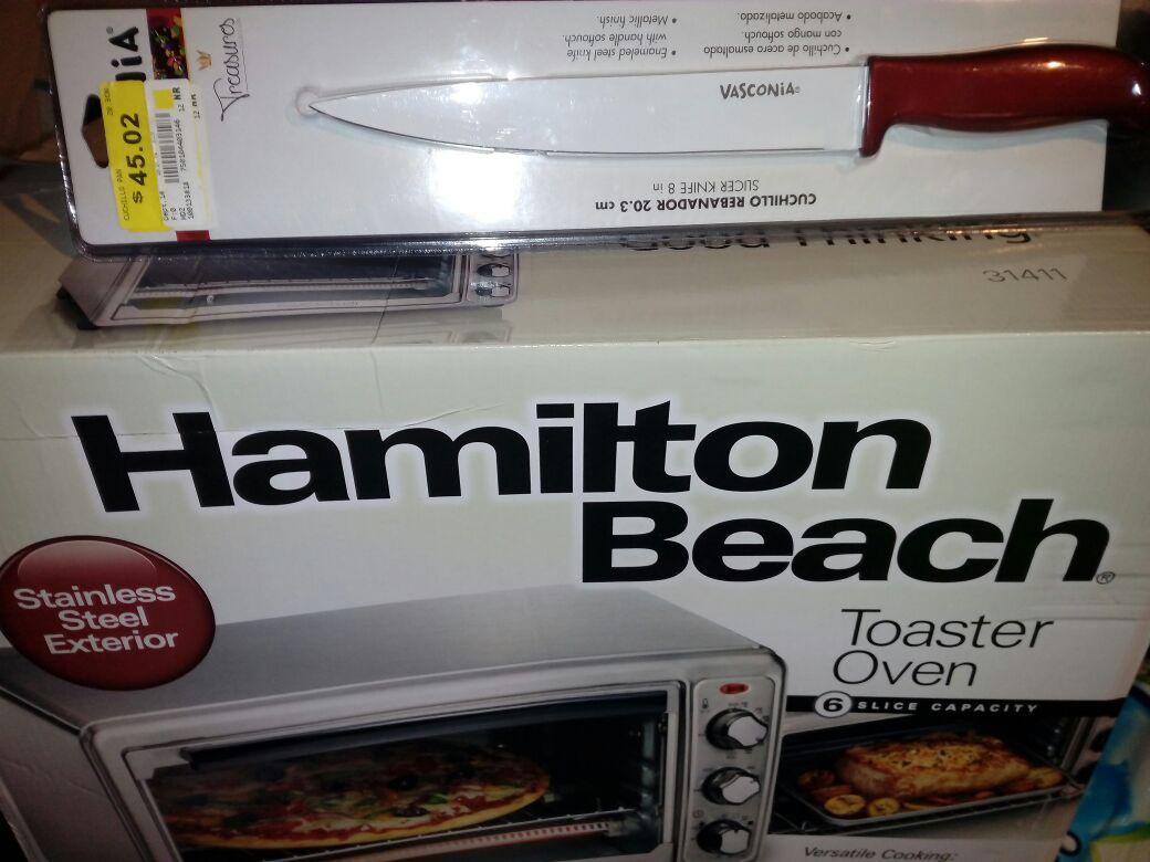 Walmart Tenayuca: Liquidación cuchillo Vasconia y horno tostador Hamilton Beach