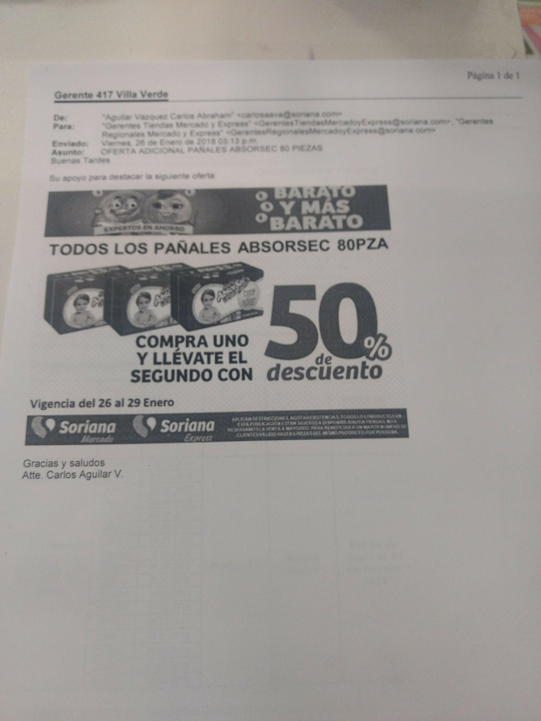 Soriana: Pañales Absorsec 80 piezas al 2x1.5