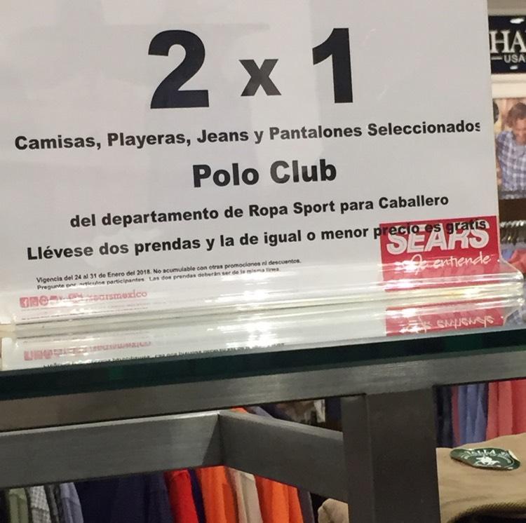 Sears, Vhsa., Tab.: 2x1 en Ropa sport Caballero marca Polo Club