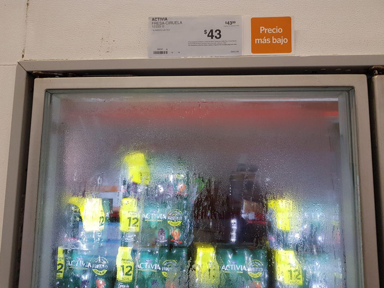 Sams: Activia bebible a $3.6, Danone bebible a $3.4, Nestle bebible a $3.3