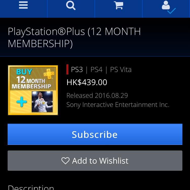 PlayStation Store Hong Kong: 1 Año Ps Plus + FIFA 18 o 1 Año + 3 Meses Ps Plus
