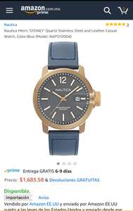 Amazon: Reloj Nautica Men's 'SYDNEY' Quartz Stainless Steel and Leather Casual Watch, Color:Blue (Model: NAPSYD004)