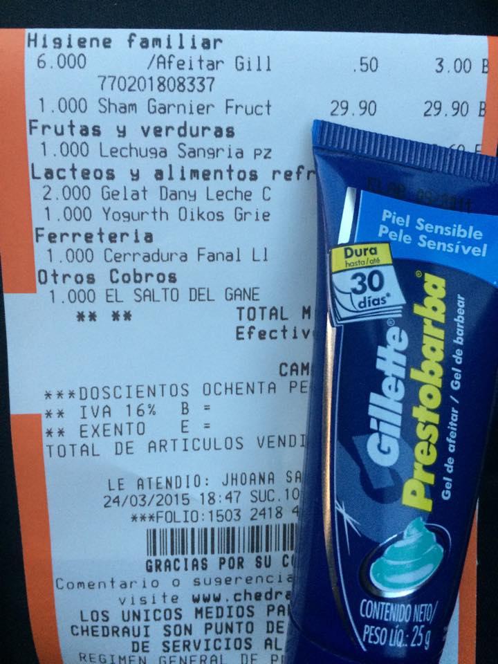 Chedraui: Gel de Afeitar Gillette Prestobarba $0.50