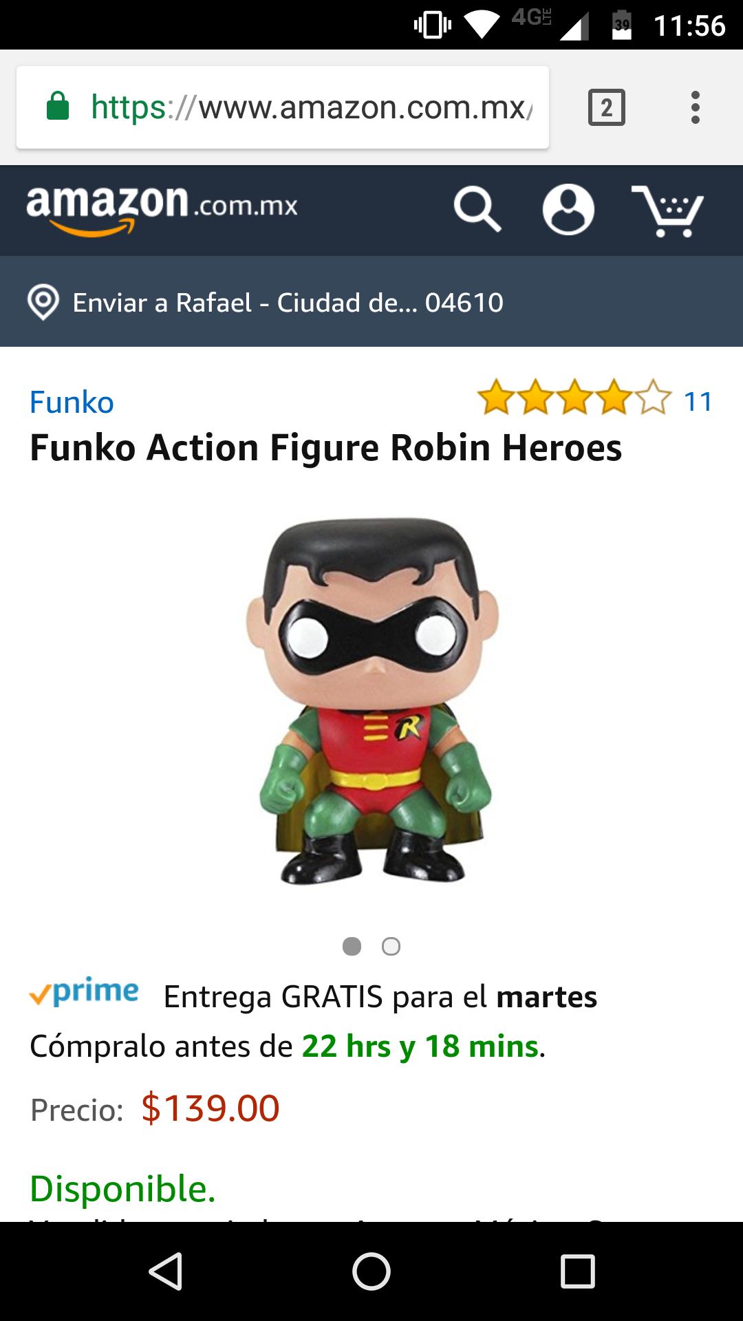 Amazon: Funko de Robin Heroes 139 incluye envio
