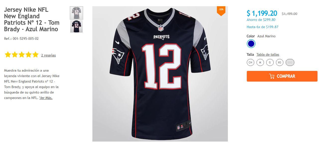 Netshoes: Jersey Nike NFL New England Patriots Azul Marino pal Super Bowl (con Groupon)