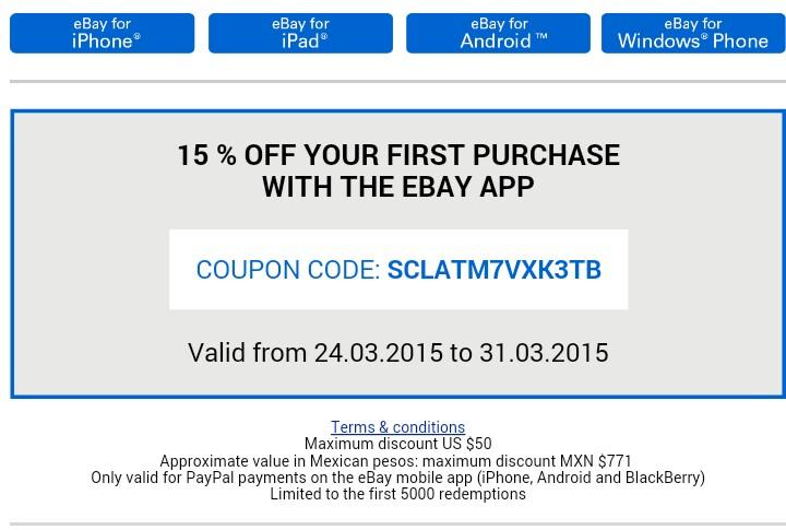 Ebay. 15% descuento comprando desde app