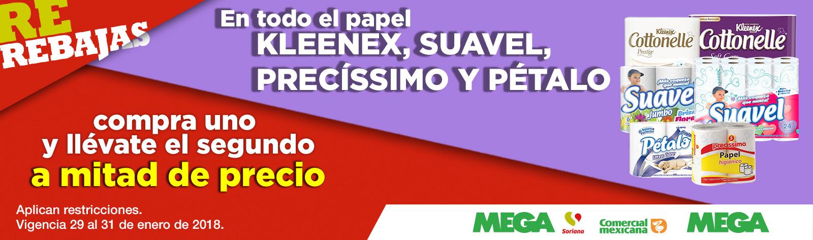 Comercial mexicana y MEGA: 2x1 1/2 en higiénicos seleccionados (hasta el miércoles)