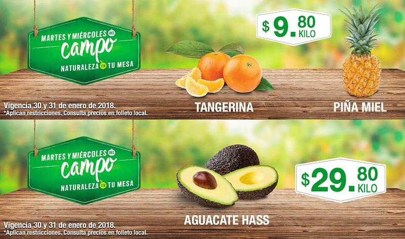 Comercial Mexicana y MEGA: Martes y Miércoles del Campo 30 y 31 Enero: Tangerina $9.80 kg... Piña Gota de Miel $9.80 kg... Aguacate Hass $29.80 kg.