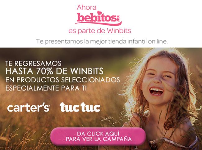 Bebitos: Hasta 70% de devolución en Winbits en productos seleccionados.