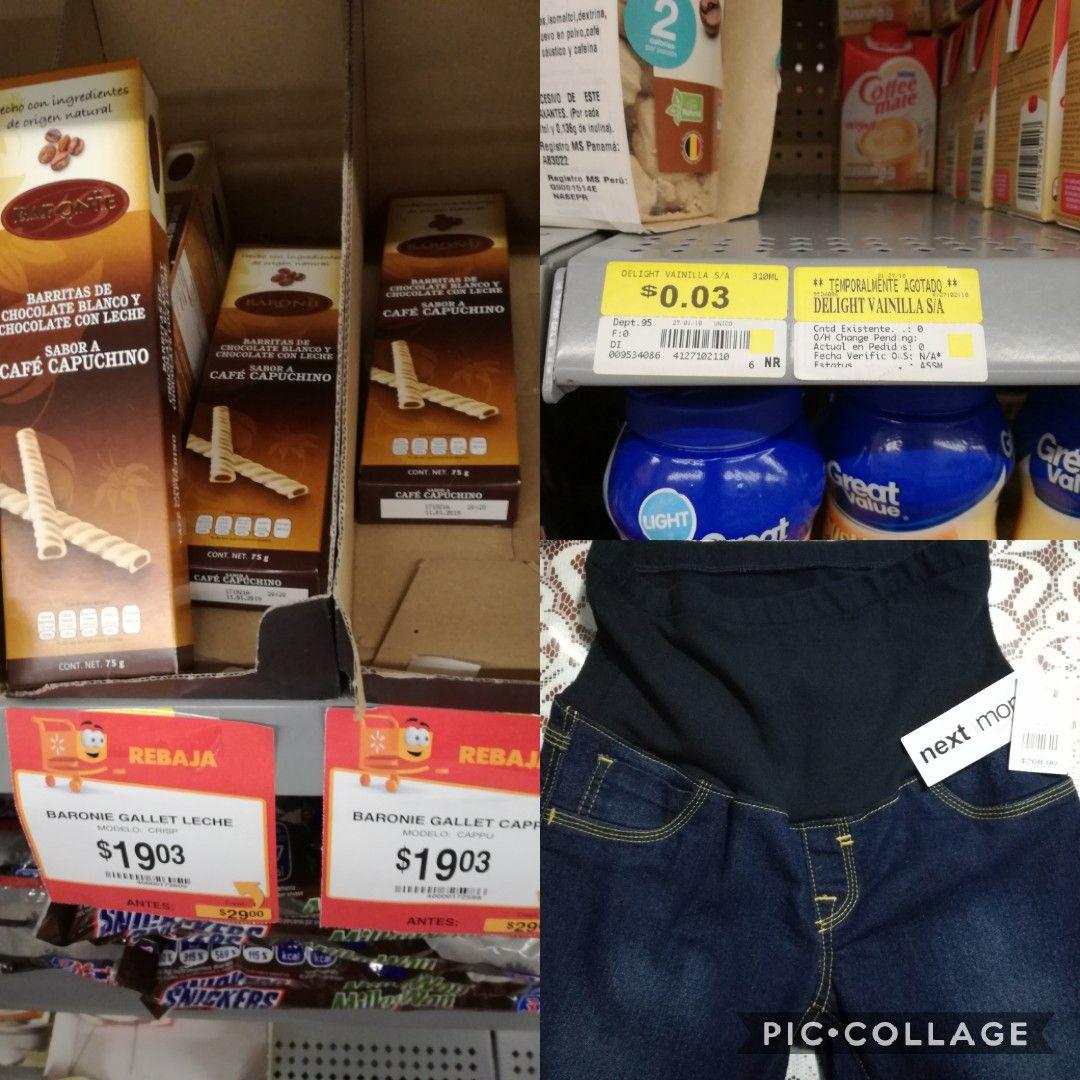 Walmart Veracruz boca del rio Promonovela  gallet cappu $19.03,delight vainilla $0.03 ,next mom pantalo de maternidad $5.03 y mas
