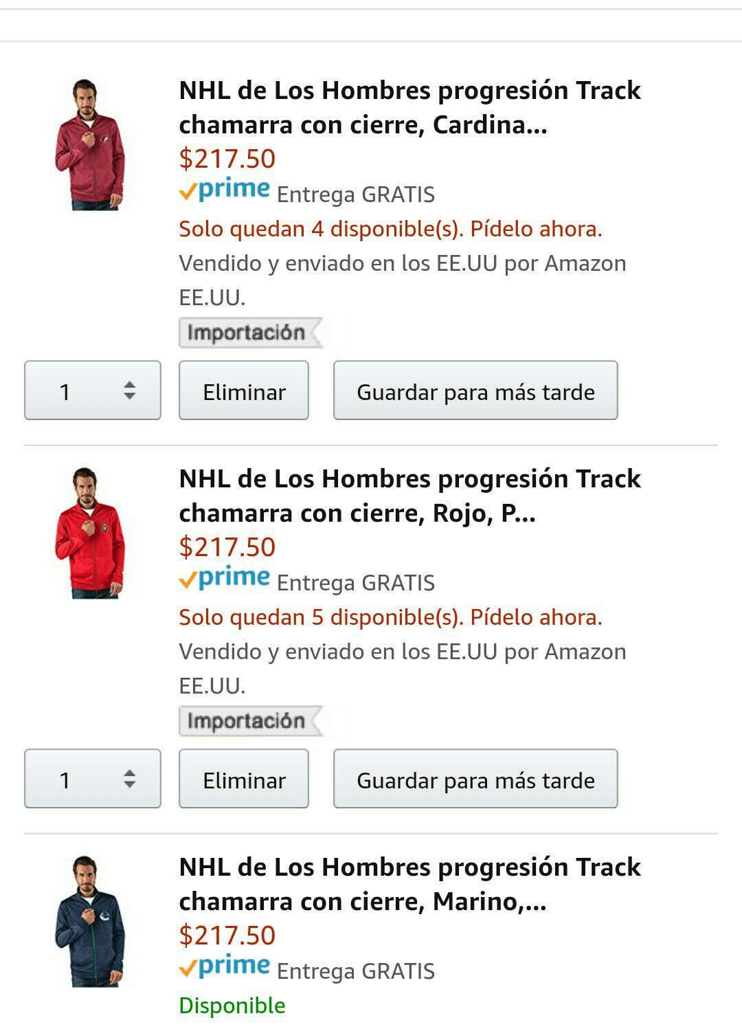 Amazon: Chamarra NHL Hombres progresión Track chamarra con cierre, Rojo, Pequeño