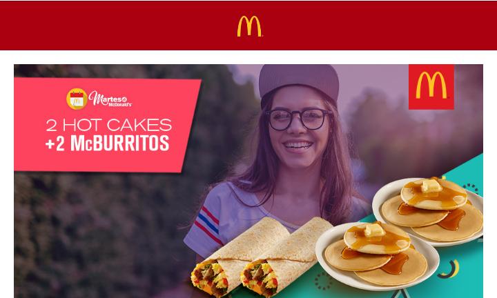 McDonald's: Martes de McDonald's 6 hotcakes y 2 Mc burritos $84