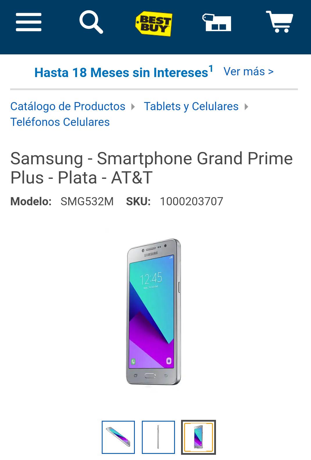 Best Buy: Grand Prime Plus - Plata - AT&T