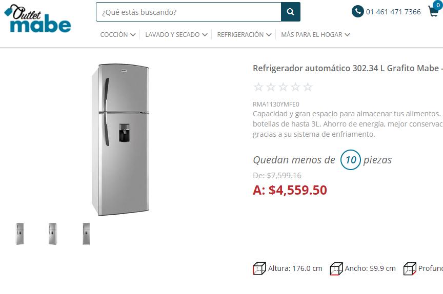Tienda Mabe: Refrigerador Mabe 11 pies con despachador