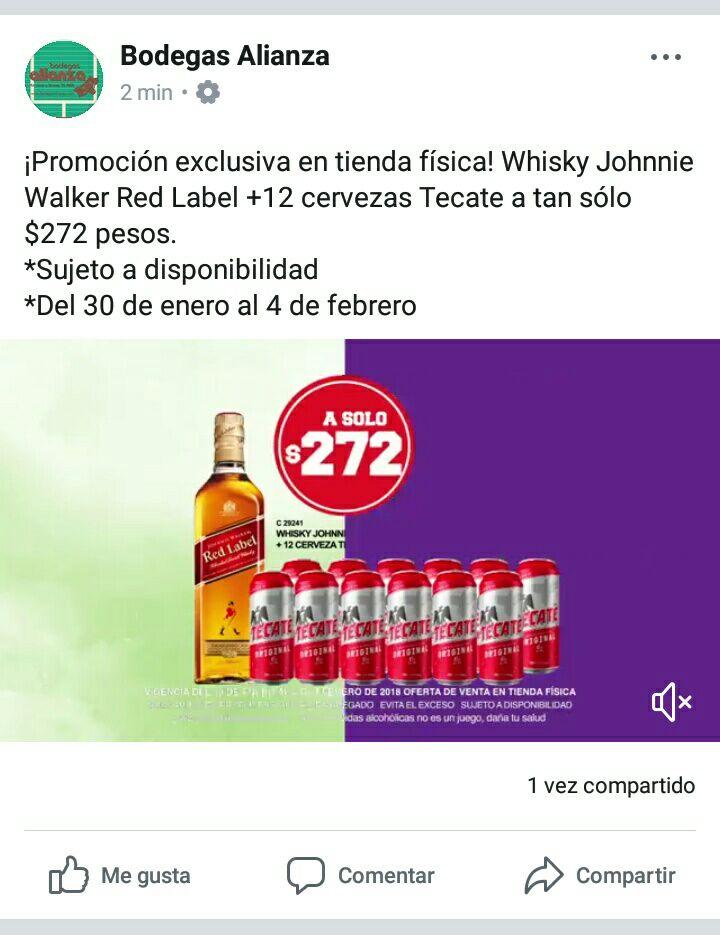Bodegas Alianza: Un etiqueta roja y doce latones de Tecate por $272