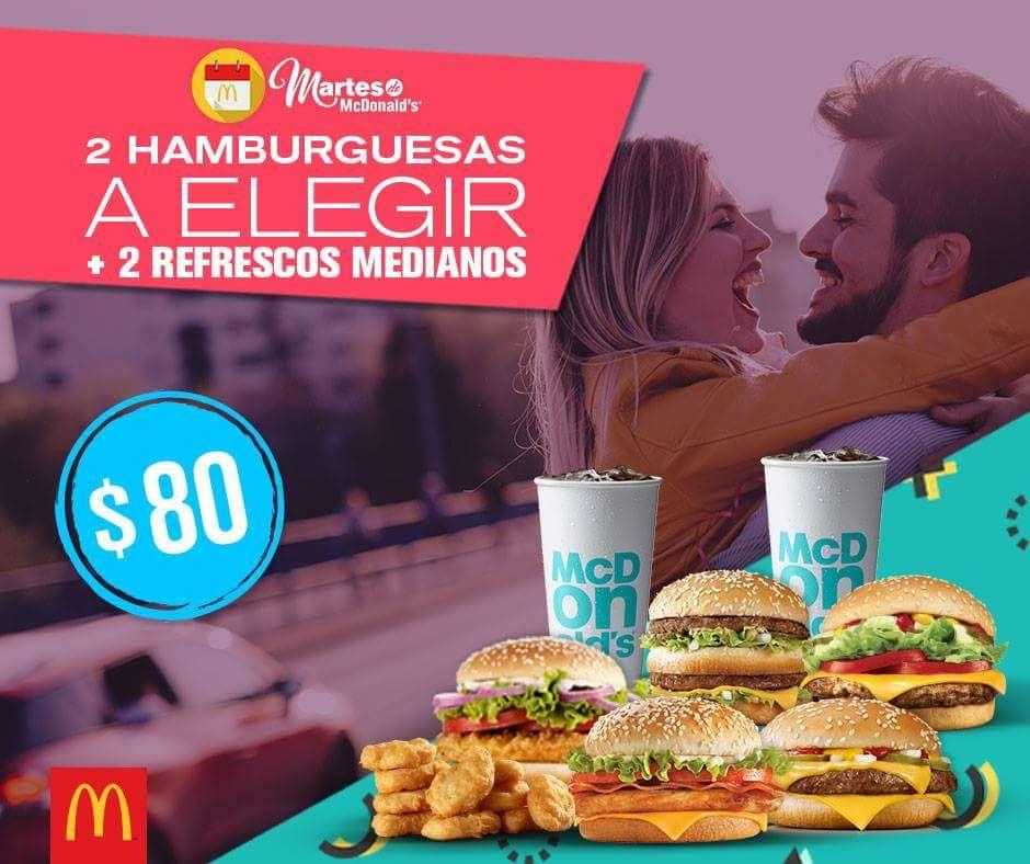 McDonald's: Martes de McDonald's, 2 hamburguesas y 2 refrescos por $80