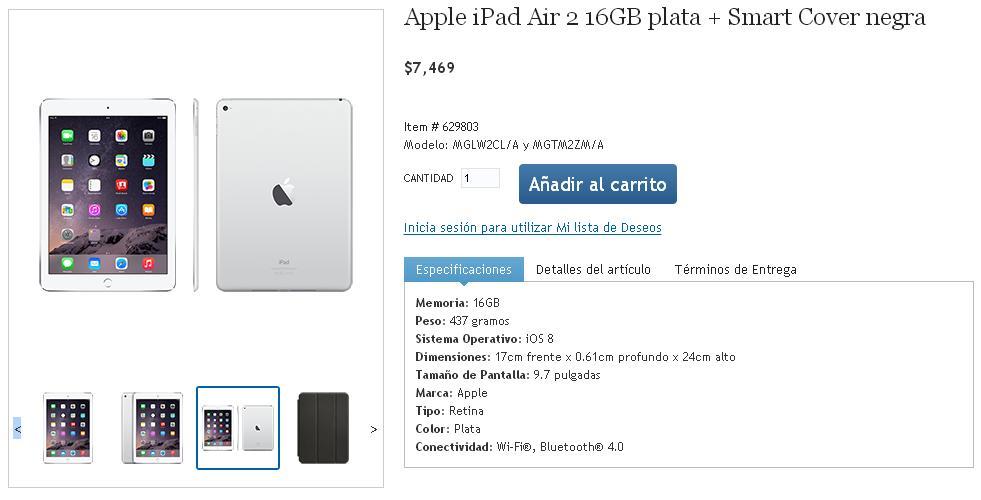 Costco: iPad Air 2 + smart cover $7,169 con banamex