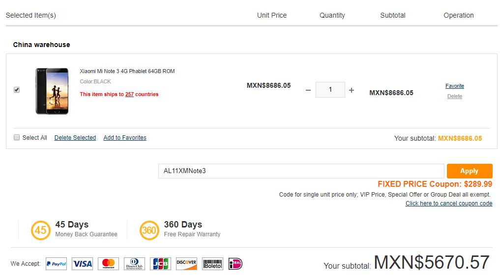 Gearbest: Xiaomi Mi Note 3 6GB/64GB Color Negro